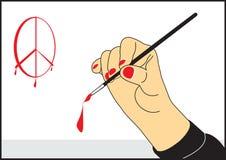 Το χέρι καλλιτεχνών ` s με μια βούρτσα σύρει ελεύθερη απεικόνιση δικαιώματος