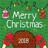 Το χέρι καρτών Χαρούμενα Χριστούγεννας το 2018 σύρει στοκ φωτογραφία με δικαίωμα ελεύθερης χρήσης