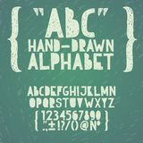 Το χέρι κιμωλίας πινάκων κιμωλίας πινάκων σύρει doodle abc, Στοκ εικόνες με δικαίωμα ελεύθερης χρήσης