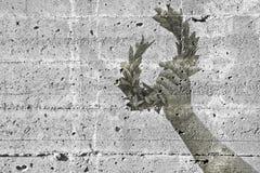 Το χέρι κρατά ένα στεφάνι δαφνών - εικόνα έννοιας ενάντια σε ένα συγκεκριμένο wa Στοκ Φωτογραφίες
