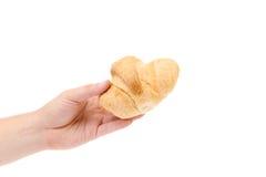 Το χέρι κρατά ριγωτό φρέσκο croissant. Στοκ Φωτογραφίες