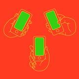 Το χέρι κρατά τα κινητά και καθορισμένα εικονίδια Στοκ φωτογραφίες με δικαίωμα ελεύθερης χρήσης