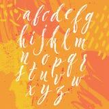 Το χέρι μανδρών βουρτσών έγραψε το αγγλικό αλφάβητο Στοκ εικόνα με δικαίωμα ελεύθερης χρήσης