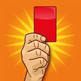 Το χέρι παρουσιάζει κόκκινη κάρτα Στοκ φωτογραφία με δικαίωμα ελεύθερης χρήσης