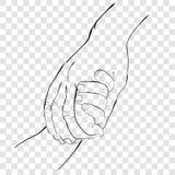 Το χέρι περιλήψεων σύρει το σκίτσο, το ενήλικο χέρι και το χέρι μωρών στο διαφανές υπόβαθρο επίδρασης απεικόνιση αποθεμάτων
