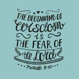 Το χέρι που γράφει την αρχή της φρόνησης είναι ο φόβος του Λόρδου, ελεύθερη απεικόνιση δικαιώματος