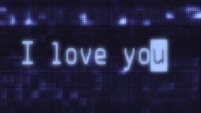Το χέρι που δακτυλογραφεί το ι σας αγαπά λέξεις γράφοντας στην παλαιά μπλε οδηγημένη LCD ζωτικότητα εικονοκυττάρου οθόνης επίδειξ διανυσματική απεικόνιση