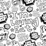 Το χέρι που σύρει im που αγαπά τρώει το άνευ ραφής σχέδιο επιστολών doodle Στοκ Φωτογραφία