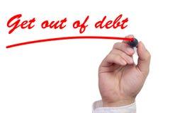 Το χέρι που υπογραμμίζει τις λέξεις παίρνει από το χρέος στοκ εικόνα
