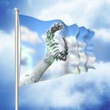 Το χέρι στεφανιών δαφνών - που κατέχει ένα άγαλμα χαλκού - τρισδιάστατο καθιστά τη σημαία συμπυκνωμένη Στοκ εικόνα με δικαίωμα ελεύθερης χρήσης