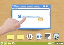 Το χέρι σχετικά με το παράθυρο και το φάκελλο παραθύρων αναζήτησης ιστοχώρου και τα εικονίδια αρχείων σε χαρτί αποκόπτουν τον υπο Στοκ Εικόνες