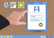 Το χέρι σχετικά με το παράθυρο και το φάκελλο παραθύρων σύνδεσης χρηστών και τα εικονίδια αρχείων σε χαρτί αποκόπτουν τον υπολογι Στοκ Εικόνες