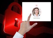 Το χέρι σχετικά με την ταυτότητα ελέγχει App ασφάλειας τη διεπαφή Στοκ Εικόνες