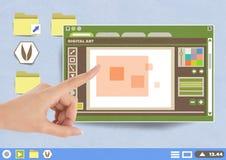 Το χέρι σχετικά με το ψηφιακούς παράθυρο και το φάκελλο συντακτών τέχνης και τα εικονίδια αρχείων σε χαρτί αποκόπτουν τον υπολογι Στοκ Εικόνα