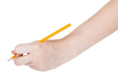 Το χέρι σύρει από το μολύβι μολύβδου που απομονώνεται Στοκ Εικόνα