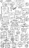 Το χέρι σύρει τα διανυσματικά εικονίδια Doodle καθορισμένα Πωλώντας αυτοκίνητα στο διαδίκτυο και στα καταστήματα αυτοκινήτων Στοκ εικόνα με δικαίωμα ελεύθερης χρήσης
