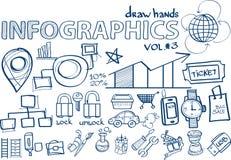 Το χέρι σύρει την ένταση infographics 3 διανυσματική απεικόνιση