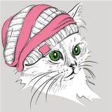 Το χέρι σύρει τη γάτα σε ένα καπέλο επίσης corel σύρετε το διάνυσμα απεικόνισης Στοκ Φωτογραφία