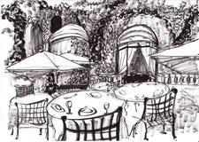 Το χέρι σύρει τη καφετερία του Παρισιού Στοκ εικόνες με δικαίωμα ελεύθερης χρήσης