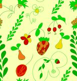 Το χέρι σύρει το άνευ ραφής σχέδιο φρούτων και λουλουδιών. ελεύθερη απεικόνιση δικαιώματος