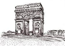 Το χέρι σύρει το Παρίσι de arc triomphe Ελεύθερη απεικόνιση δικαιώματος