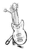 Το χέρι σύρει το σκίτσο, ηλεκτρική κιθάρα Στοκ Φωτογραφίες