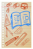 Το χέρι σύρει το σκίτσο, σχολική ουσία Στοκ Εικόνες