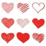 Το χέρι σύρει το σχέδιο καρδιών Στοκ εικόνες με δικαίωμα ελεύθερης χρήσης