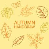 Το χέρι σύρει το φύλλο φθινοπώρου Στοκ Εικόνα