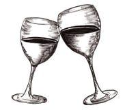 Το χέρι σύρει το φλυτζάνι κρασιού Στοκ Εικόνες