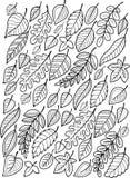 Το χέρι σύρει doodle τη χρωματίζοντας σελίδα για τον ενήλικο μειωμένα φύλλα φθινοπώρο&upsilo Στοκ Εικόνες