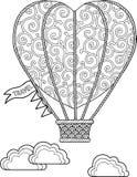 Το χέρι σύρει doodle τη χρωματίζοντας σελίδα για τον ενήλικο Ταξίδι σε ένα μπαλόνι Στοκ φωτογραφίες με δικαίωμα ελεύθερης χρήσης