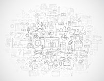 Το χέρι σύρει doodle τις αποδοχές analytics επιχειρησιακής χρηματοδότησης τραπεζών στοιχείων Στοκ φωτογραφία με δικαίωμα ελεύθερης χρήσης
