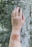 Το χέρι της με τη δερματοστιξία στον κήπο Στοκ Εικόνα
