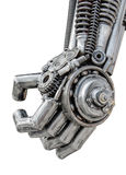 Το χέρι του μεταλλικού cyber ή του ρομπότ έκανε από τα μηχανικά μπουλόνια και τα καρύδια αναστολέων Στοκ Εικόνες