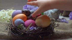 Το χέρι του παιδιού γεννά το εορταστικό χρωματισμένο αυγό απόθεμα βίντεο