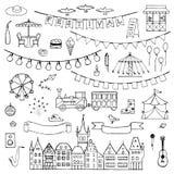 Το χέρι φεστιβάλ που σύρθηκε doodle έθεσε Στοκ Εικόνες