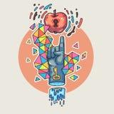 Το χέρι φθάνει για ένα μήλο Απεικόνιση κινούμενων σχεδίων στο κωμικό καθιερώνον τη μόδα ύφος Απεικόνιση αποθεμάτων