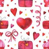 Το χέρι χρωμάτισε το άνευ ραφής σχέδιο watercolor με τις καρδιές, κιβώτια δώρων, κέικ, τόξο, γιρλάντες στο άσπρο υπόβαθρο διανυσματική απεικόνιση