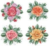 Το χέρι χρωμάτισε το γοητευτικό συνδυασμό watercolor λουλουδιών και φύλλων, που απομονώθηκε στο άσπρο υπόβαθρο Στοκ φωτογραφία με δικαίωμα ελεύθερης χρήσης