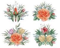 Το χέρι χρωμάτισε το γοητευτικό συνδυασμό watercolor λουλουδιών και φύλλων, που απομονώθηκε στο άσπρο υπόβαθρο Στοκ Φωτογραφίες