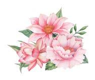 Το χέρι χρωμάτισε το γοητευτικό συνδυασμό watercolor λουλουδιών και φύλλων, που απομονώθηκε στο άσπρο υπόβαθρο Στοκ Εικόνες