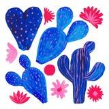 Το χέρι χρωμάτισε το σύνολο διακοσμητικού κάκτου στο σύνολο ύφους φαντασίας ανθίζοντας φυτών, μπλε χρώμα κοραλλιών κάκτων στοκ εικόνα με δικαίωμα ελεύθερης χρήσης
