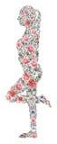 Το χέρι χρωμάτισε τη σύνθεση watercolor των λουλουδιών με μορφή ενός κοριτσιού που απομονώθηκε στο άσπρο υπόβαθρο Στοκ Εικόνες