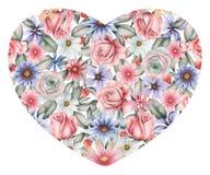 Το χέρι χρωμάτισε τη σύνθεση watercolor των λουλουδιών με μορφή μιας καρδιάς, που απομονώθηκε στο άσπρο υπόβαθρο Στοκ Φωτογραφίες
