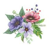 Το χέρι χρωμάτισε το γοητευτικό συνδυασμό watercolor λουλουδιών και φύλλων που απομονώθηκαν στο άσπρο υπόβαθρο απεικόνιση αποθεμάτων