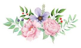Το χέρι χρωμάτισε το γοητευτικό συνδυασμό watercolor λουλουδιών και φύλλων που απομονώθηκαν στο άσπρο υπόβαθρο ελεύθερη απεικόνιση δικαιώματος