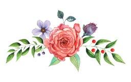 Το χέρι χρωμάτισε το γοητευτικό συνδυασμό watercolor λουλουδιών και φύλλων που απομονώθηκαν στο άσπρο υπόβαθρο Στοκ φωτογραφίες με δικαίωμα ελεύθερης χρήσης