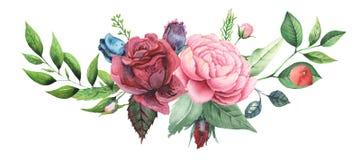 Το χέρι χρωμάτισε το γοητευτικό συνδυασμό watercolor λουλουδιών και φύλλων που απομονώθηκαν στο άσπρο υπόβαθρο Στοκ Φωτογραφία