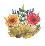 Το χέρι χρωμάτισε το γοητευτικό συνδυασμό watercolor λουλουδιών και φύλλων που απομονώθηκαν στο άσπρο υπόβαθρο Στοκ εικόνα με δικαίωμα ελεύθερης χρήσης